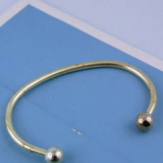 Silver rigid bracelet for beads manufacturing jewelry