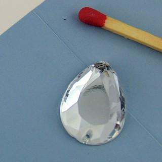 3 pierres en verre en verre à coudre 17 mm