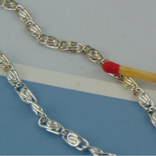 Silver jewelry chain flat links 2 m