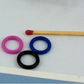 Anneaux métal couleurs vives 15 mmm