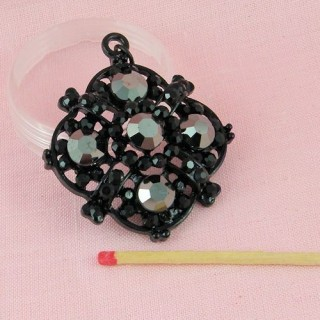 Pendentif métal noir strass et hématites