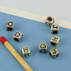 Perla 5 mm plateado alfabeto cúbico