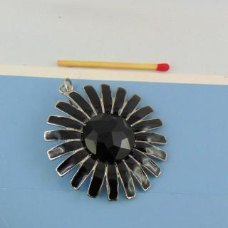 Pendentif fleur en métal noir hématite 5 cm