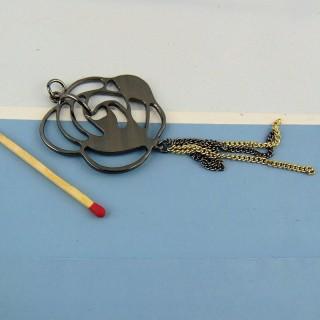 Pendentif métal noir avec strass et pendants  4,5 cm