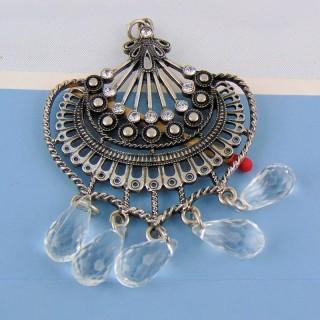Metal pendant with Rhinestones and pendants 8 cm