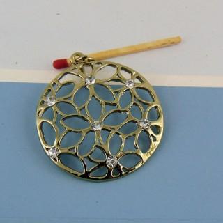 Metallanhänger mit Rheinstein 5 cm