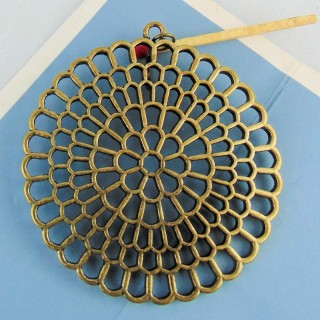 Round pendant in metal shape flower 7 cm