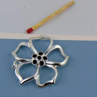 Pendentif fleur en métal argenté et hématite 4 cm