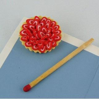 Tarte aux fruits miniature maison poupée, 2 cm.