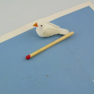 Miniature white plastic dove