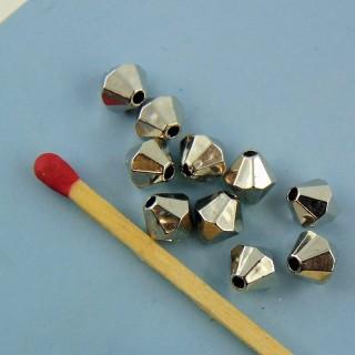 10 Facettenreiche Kunststoffperle 6 mm.