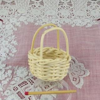 Miniatur-Korb weiß Handball Haus Puppe 4 cm.