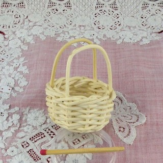Miniature basket white handball house doll 4 cm.