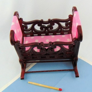 Cradle baby miniature doll house, 9 cm.