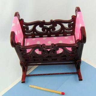Wiege Baby Miniatur Puppenhaus, 9 cm.