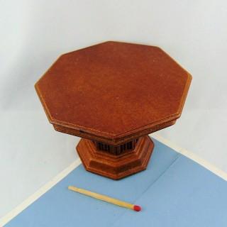 Octagonal mesa muebles de madera casa de muñecas en miniatura