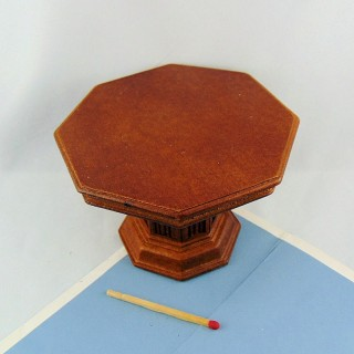 Octagonal table wood furniture miniature doll house