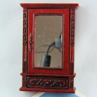 Espejo madera tallada miniatura casa muñeca
