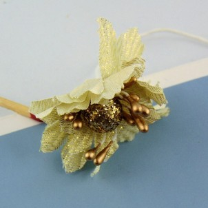 Flower in gold fabric metal stem