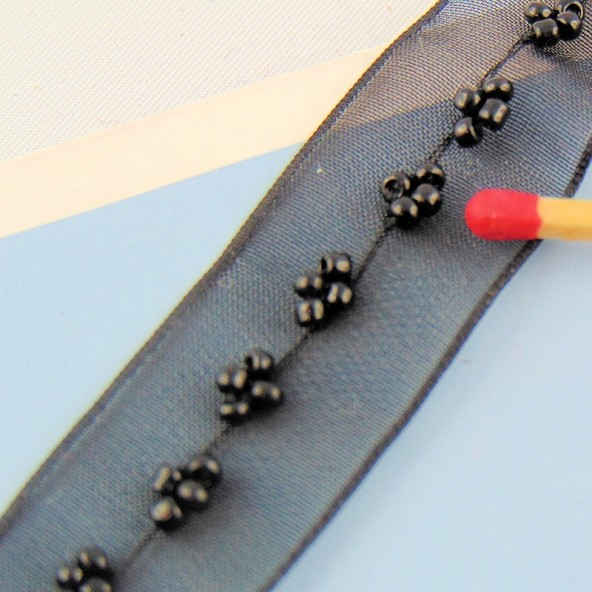 20 mm beads embroidered organdi ribbon.