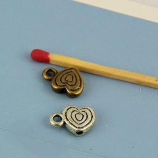 El corazón de metal perla cuelga encanto, 8.5 mm.