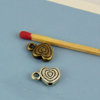 Metal heart,bail, bracelet charm, jewel doll, 7,5mm diameter
