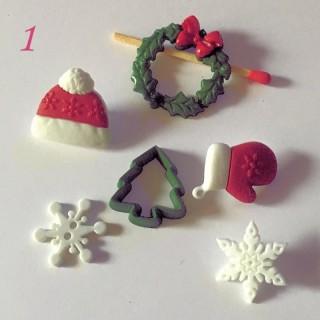 6 Weihnachtsknöpfe Schnee Adventskranz
