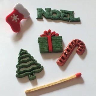 6 botones de Navidad regalo bota árbol de navidad