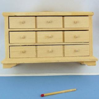 Commode miniature bois brut maison poupée