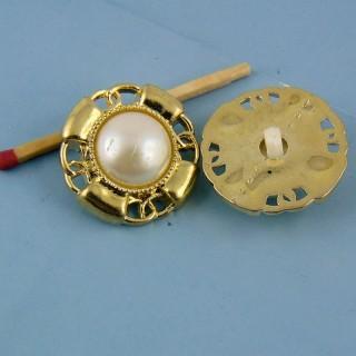 Bouton haute couture à pied perle et or 25 mm,