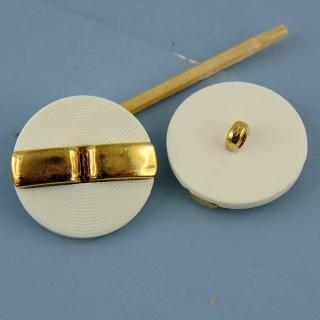 Botón de alta costura blanco - oro de 25 mm