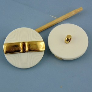 White haute couture button - 25 mm gold