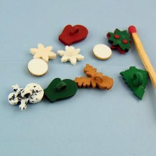 mini Botones de vacaciones Nieve Navidad