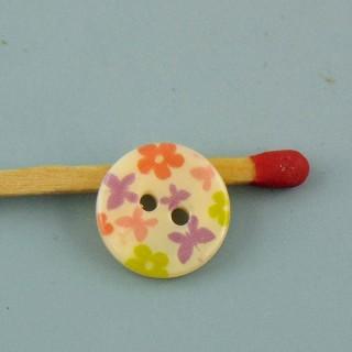 Botón redondo de nácar rosa a rayas de 12 mm