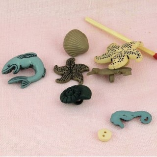 7 Boutons poissons coquillages mer