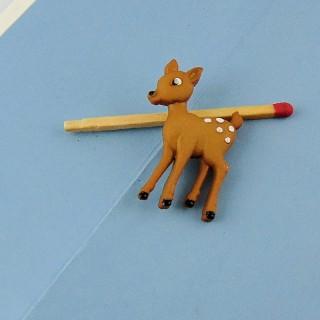 Dschungel Tier Knopf, Zoo Daim Bambi 25 mm.