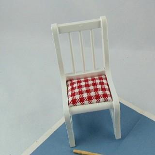 Muebles en miniatura casa de muñecas silla blanca