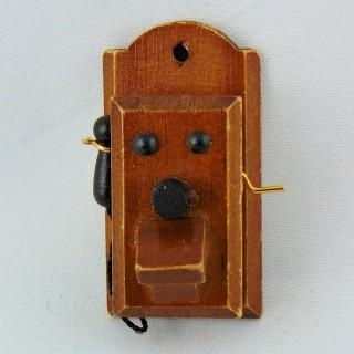 Teléfono mural miniatura madera antigua 48 mm