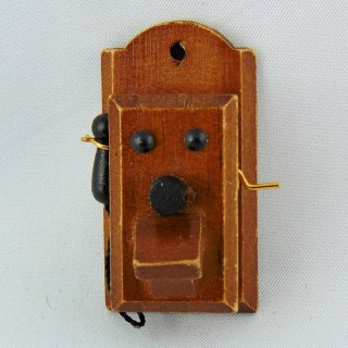 Vintage wall phone miniature for dollhouse