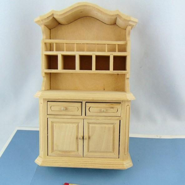 Buffet Vaisselier Miniature Cuisine Maison Poupee Meuble En Bois Br