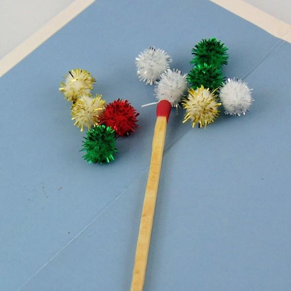 Mini Pompon brillante bola de Navidad 7 mm