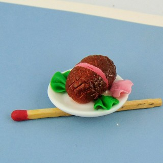 Ham plate meal doll miniature, 3 cms.