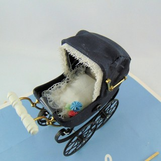 Antique pram doll house miniature