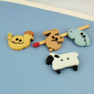 4 buttons, Farm Animals for baby.,