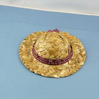 Chapeau paille à rebord, 7 cm.