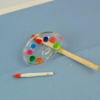 Paleta de pintores en miniatura 1/12 casa de muñecas
