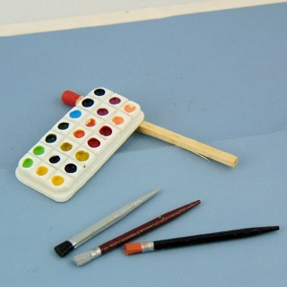 Miniature Tubes of watercolor box for doll school.