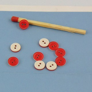 Petits Boutons mercerie bicolores 6 mm.