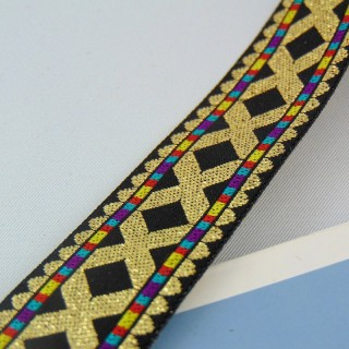 Fine ribbon ribbon embroidered with gold 25 mm