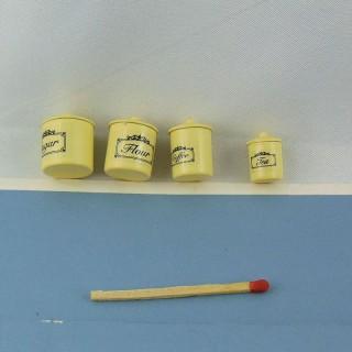 Cajas de tarro de almacenamiento de metal en miniatura 1/12